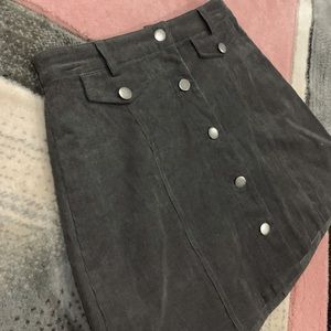 Skirts - Grey velvet mini skirt